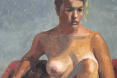 Female-nude-seated-on-grey-and-red