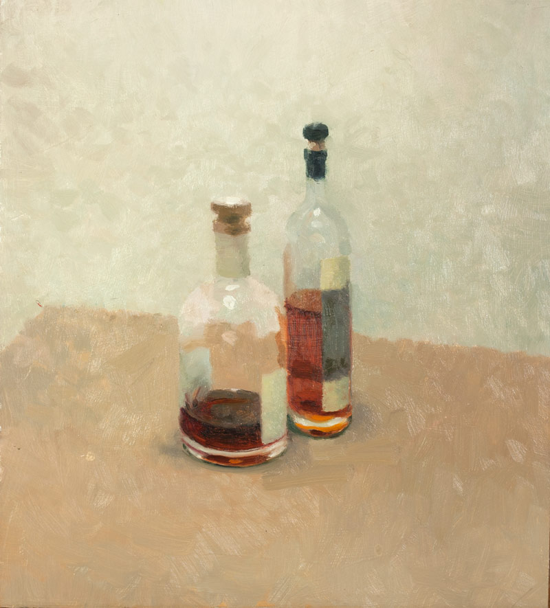 A couple of old friends - oil on board - Simon Dunstan