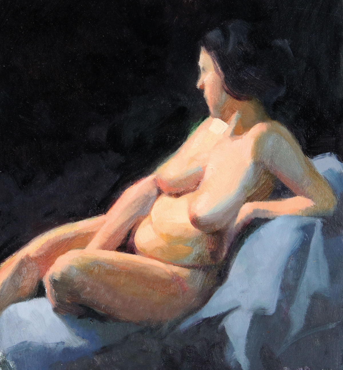 reclining-curvy-nude-on-black-colour-study